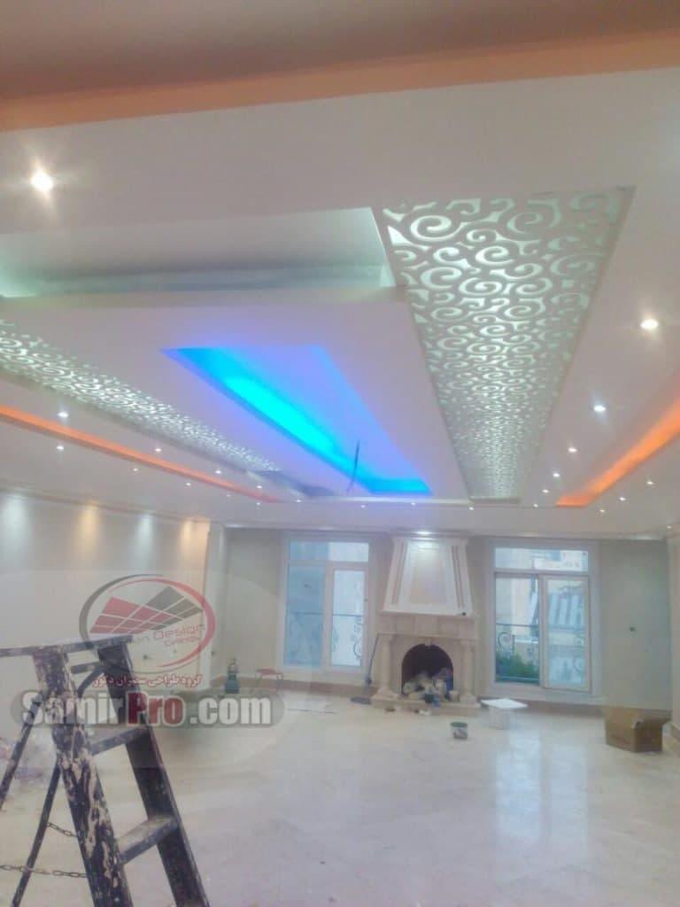 سقف کناف پذیرایی با نورپردازی مخفی