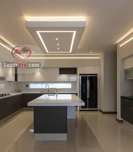 سقف کناف با نورپردازی برای آشپزخانه